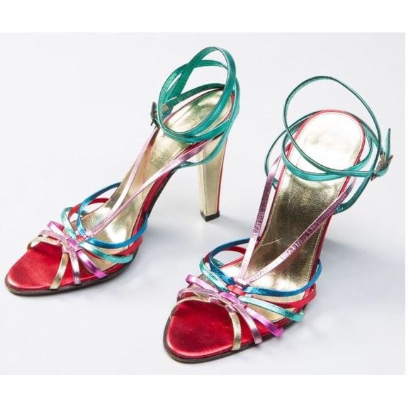 7d63daf6c BCBGMaxAzria Shoes - BCBG Retro Rainbow Metallic Strappy Heels Boogie